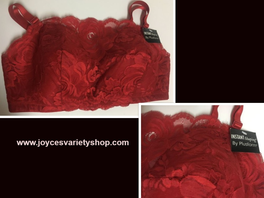 Plushform Red Lace Shaping Bra NWT Sz 38D
