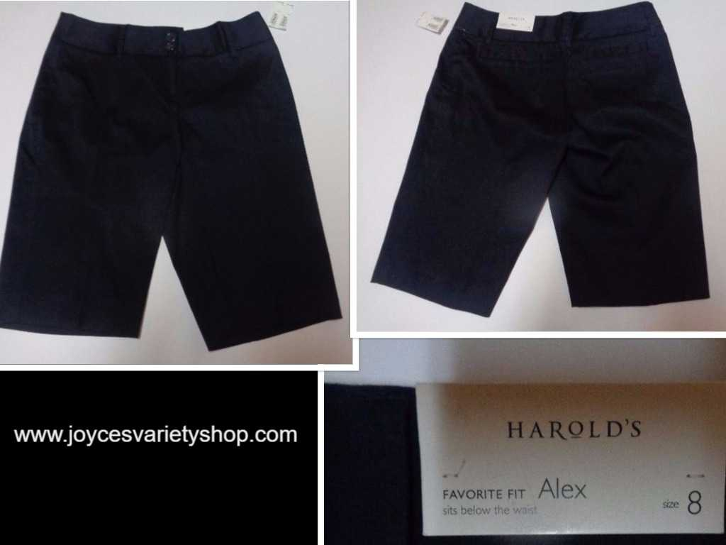 Harold's Alex Shorts Favorite Fit Below Waist NWT Black Women's SZ 8