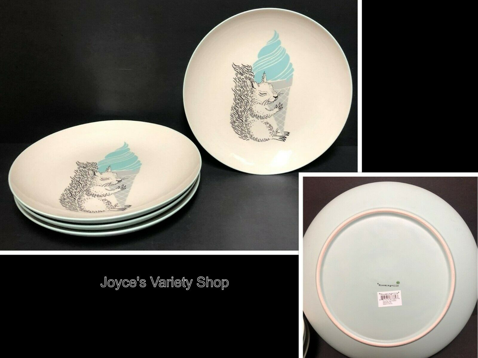 "Bloomingville Mollie Nature Squirrel Ceramic 10"" Dinner Plates Set of 4"