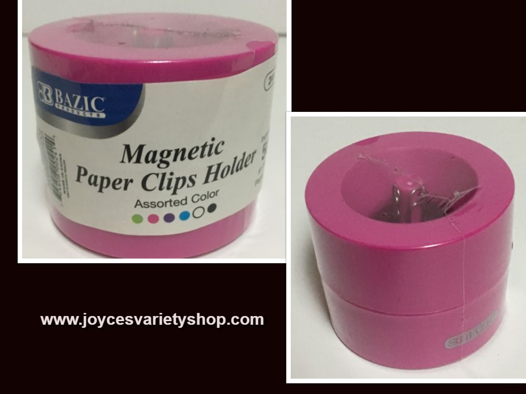 Bazic Office Magnetic Paper Clip Holder w/50 #1 Silver Clips Pink