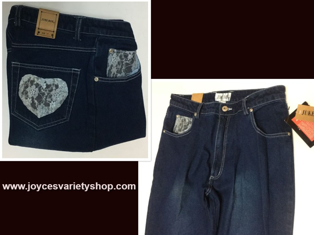 Juke Box Dark Indigo Denim Jeans Sz 11 Blue Lace Hearts