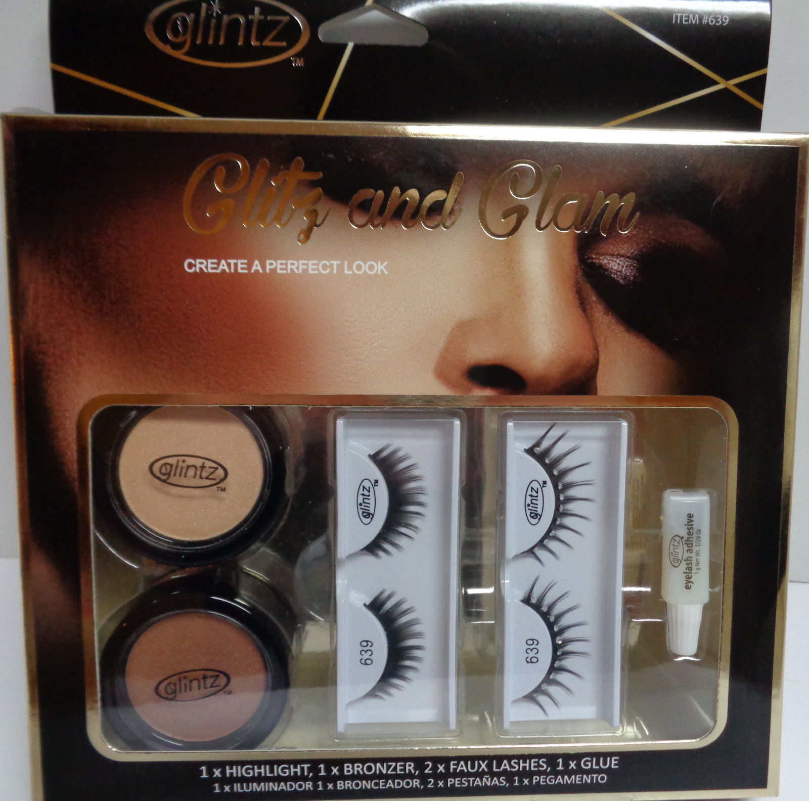 GLINTZ EYELASHES & BRONZER Glitz & Glamor SET NIB CLUB PARTY 2x2