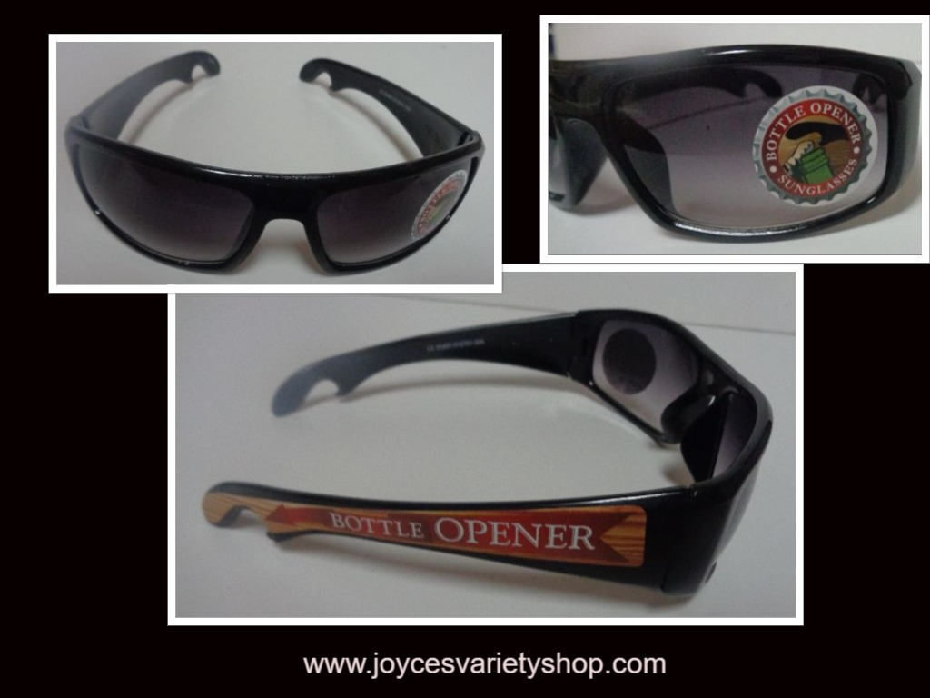 Bottle Opener Sunglasses Black NEW Novelty 100% UV