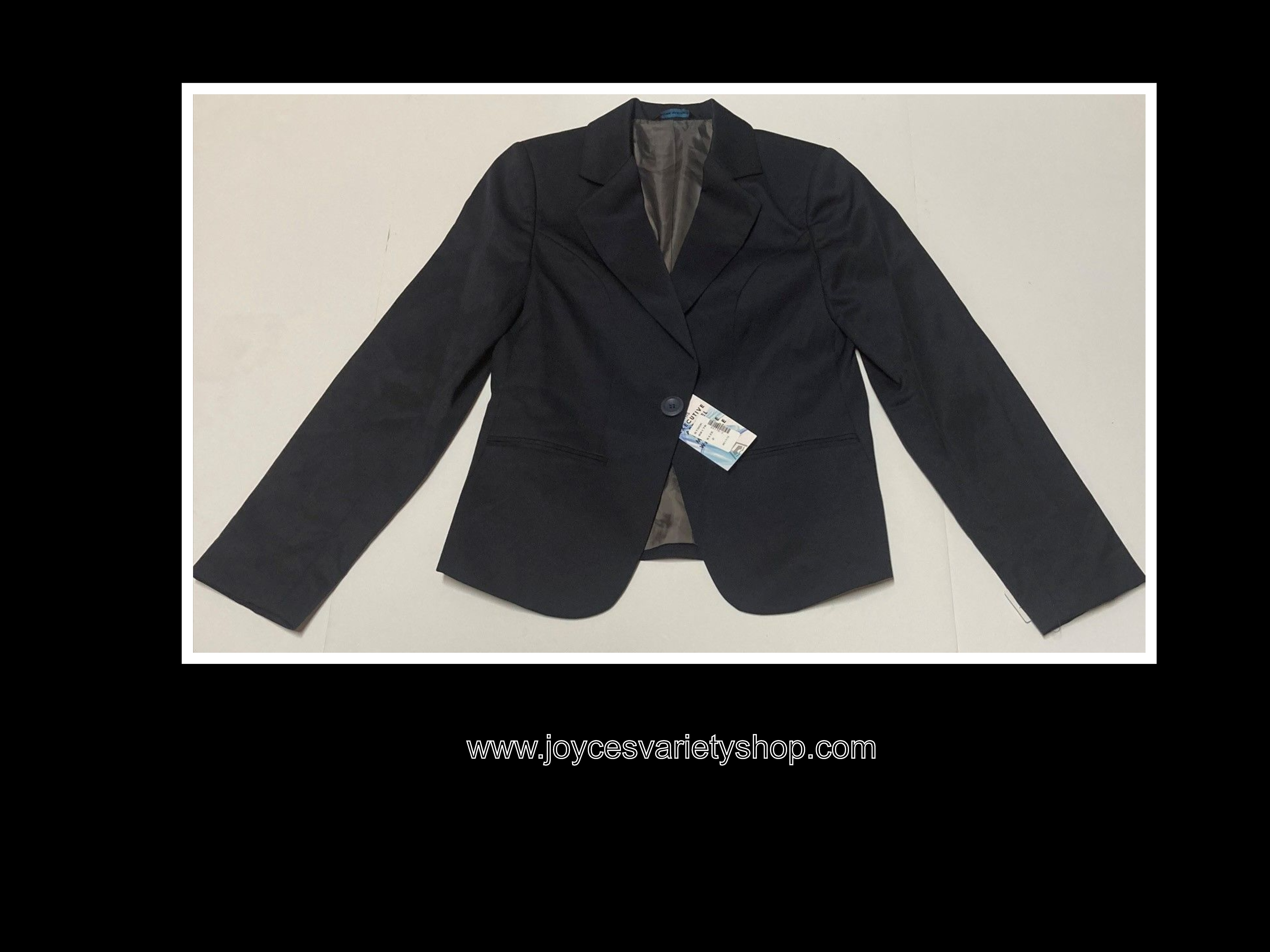 Executive Apparel Career Jacket Womens Sz 2 Navy Blue Blazer Machine Washable
