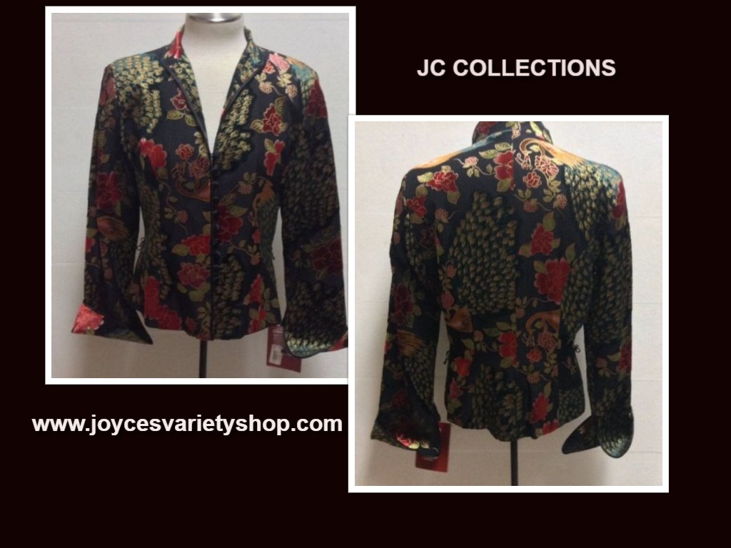 JC Collections Multi-Color Silk Jacket Peacock Floral Sz 8