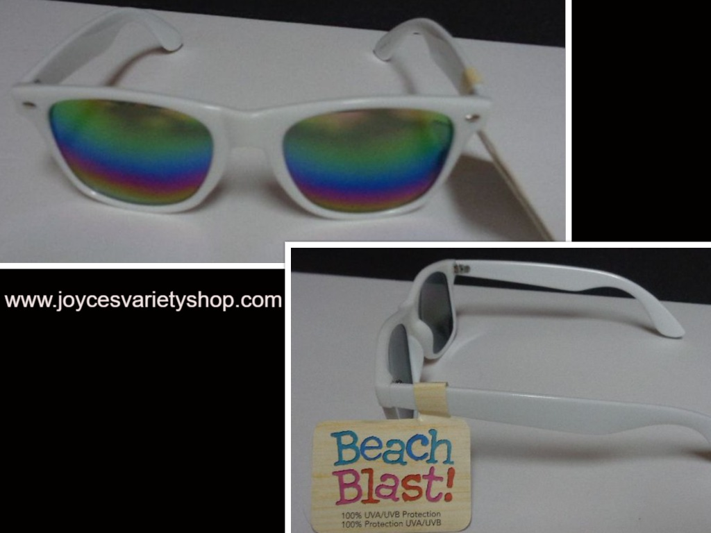FG Beach Blast Trendy White Sunglasses NWT 100% UVA UVB Protection