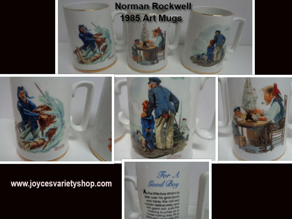 1985 Norman Rockwell Gold Trim Porcelain Decor Art Mugs Set of 3