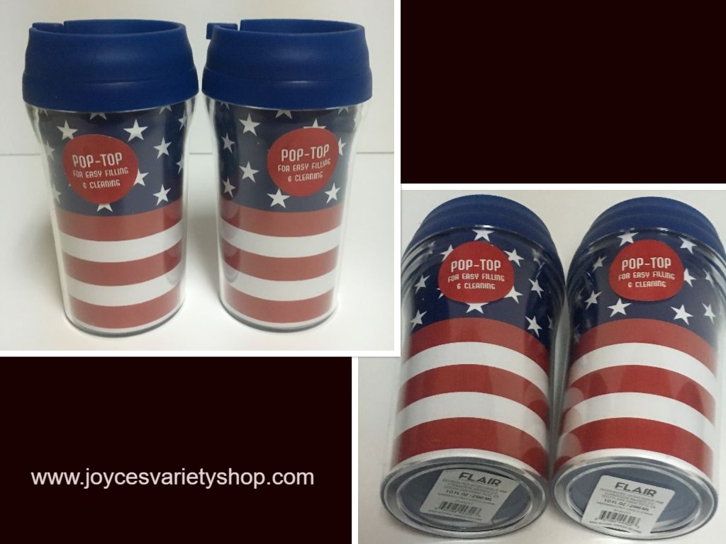 Patriotic US Flag Design 10 Oz Travel Cups Pop Top Lot of 2