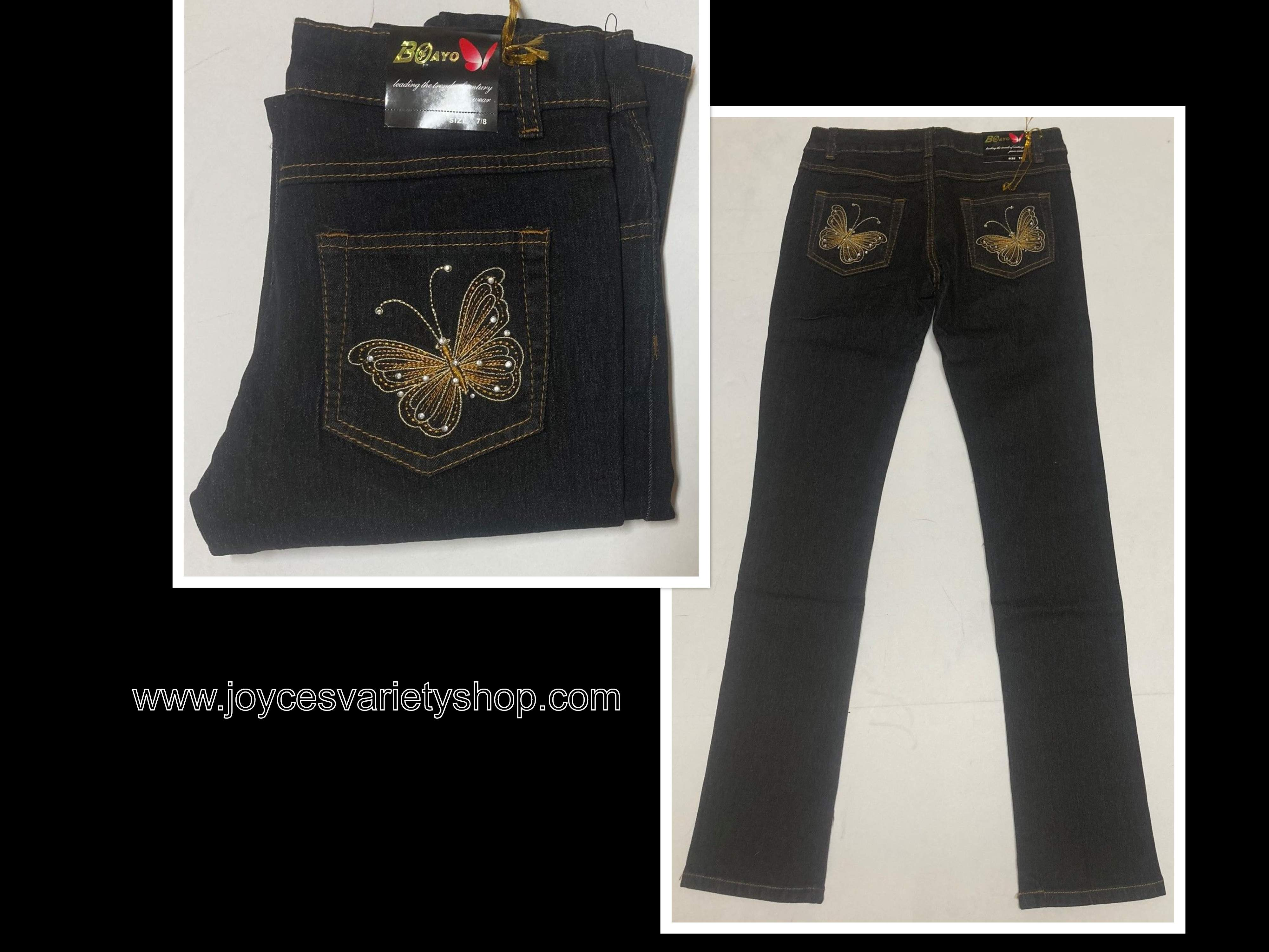 Boayo Black Jeans Indigo Stretch Gold Butterfly Design Various Sizes