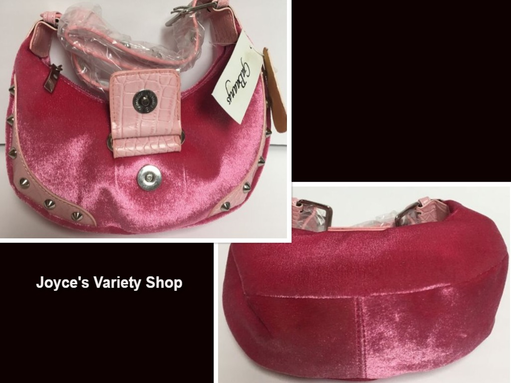 "GaBaangs Hot Pink Purse Soft Look Studded Small 9"" Velour Faux Leather"