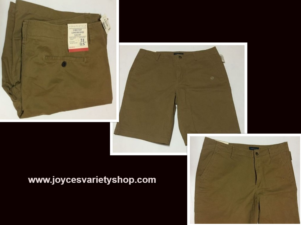 "Aeropostale Men's Board Shorts Khaki Brown Sz 38 NEW Below Knee 11.5"" Inseam"