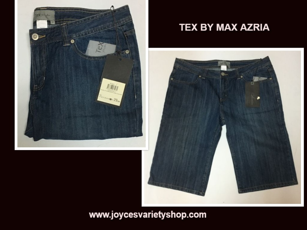 Women's Blue Pintuck Crop Shorts Sz 31 Tex by Max Azria
