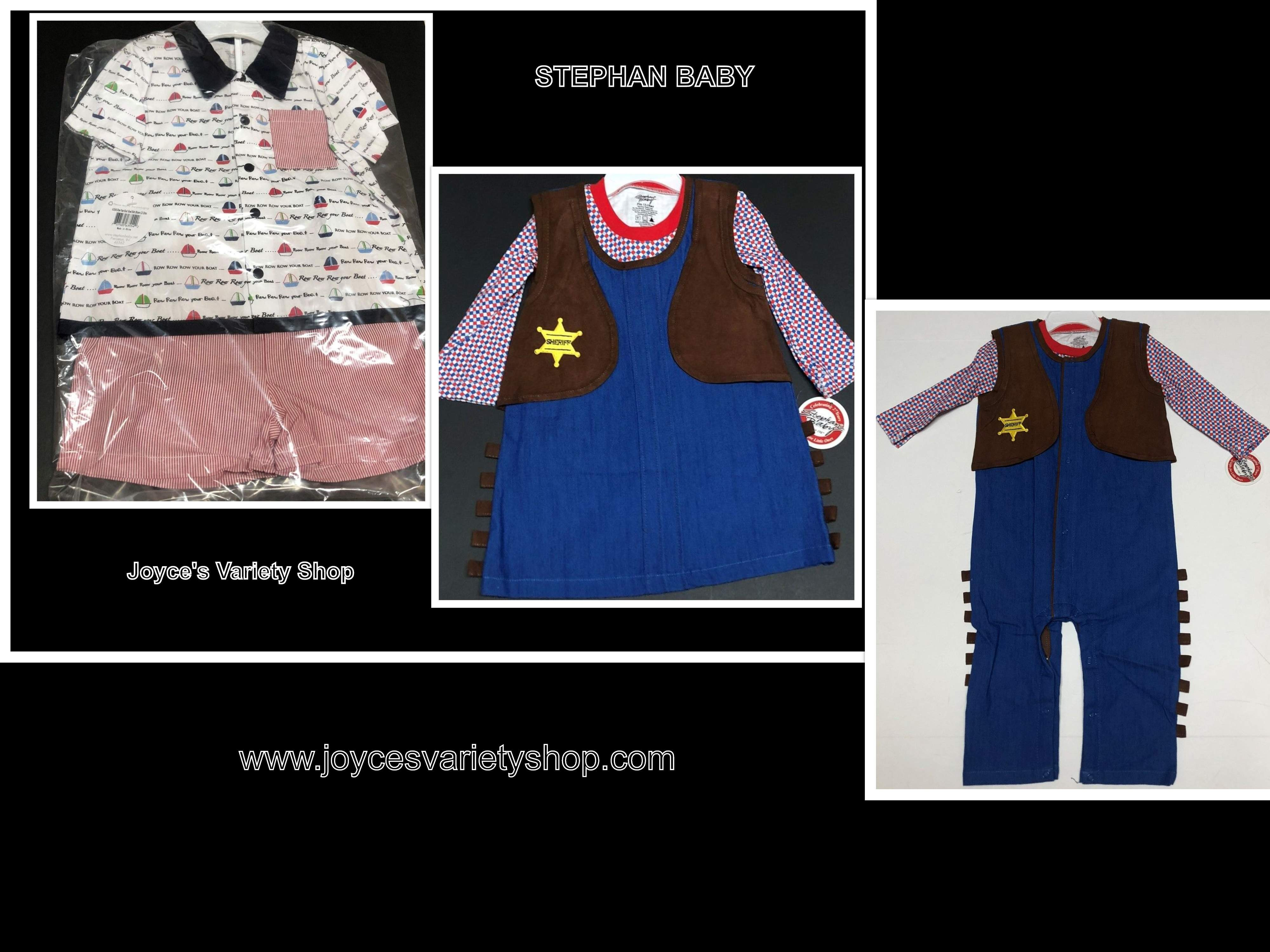 Stephan Baby 2 PC Outfit 100% Cotton 12-18 MOs Girl, Boy Western or Sailing Set