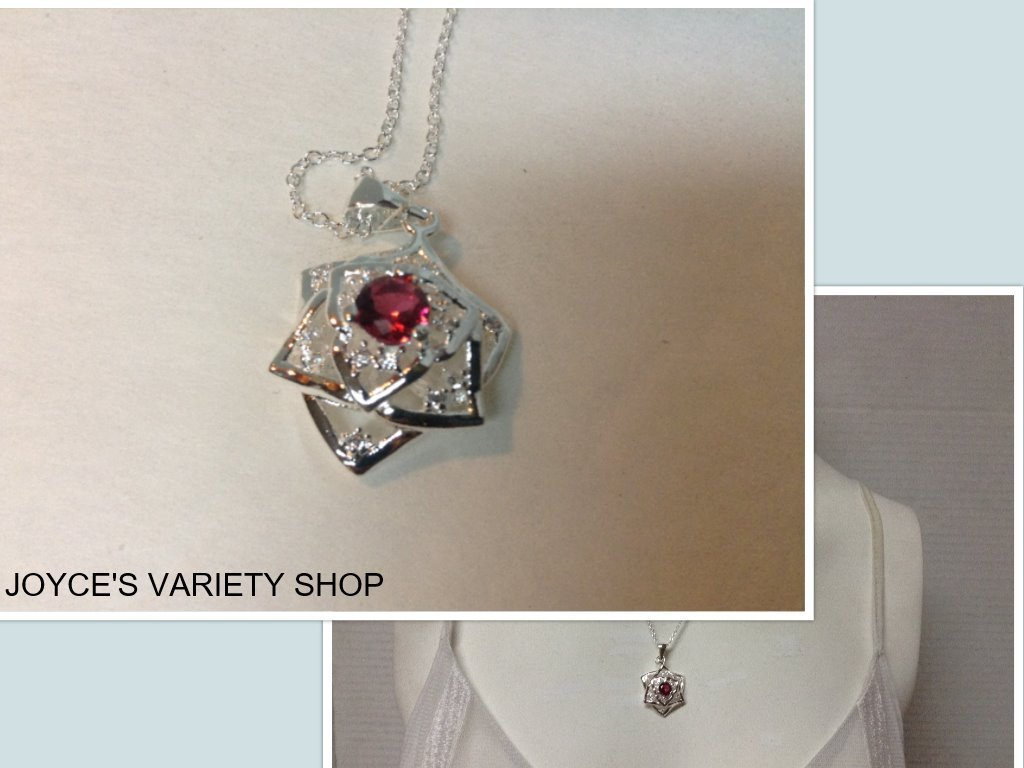 Sterling Silver 925 Necklace Flower Cluster Pendant Red Stone