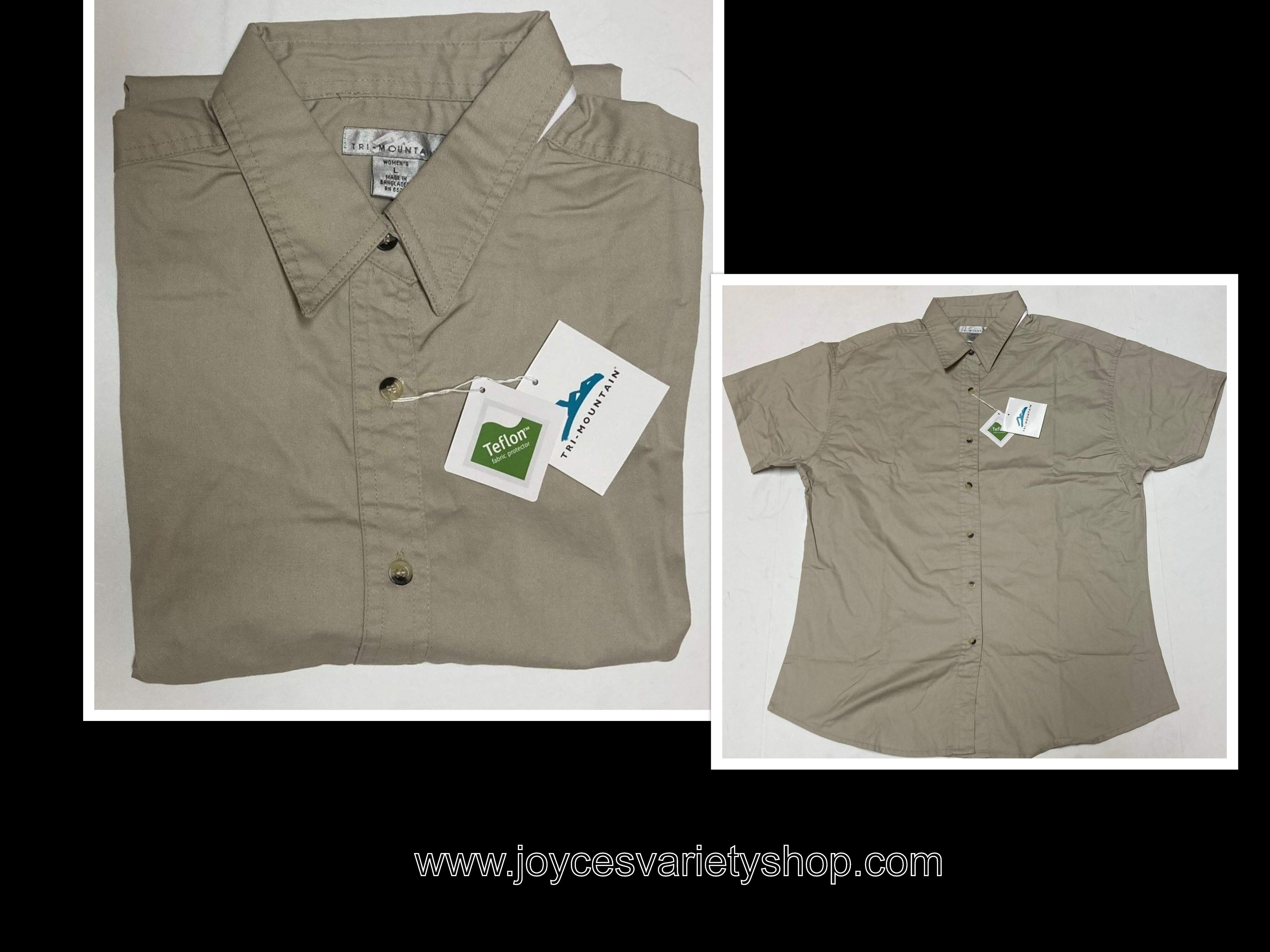 Women's Khaki Beige Button Up Shirt Short Sleeve Size L Teflon Fabric Protector