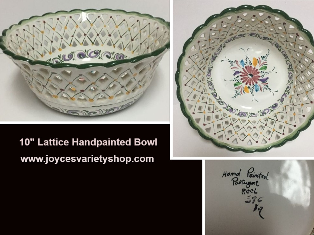 Hand Painted Portuguese Lattice Bowl 10""