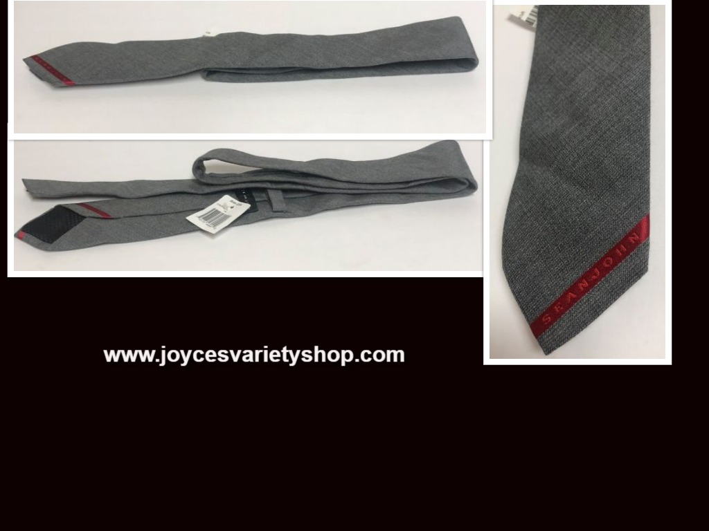Sean John Gray Tie Logo 67% Wool 33% Silk