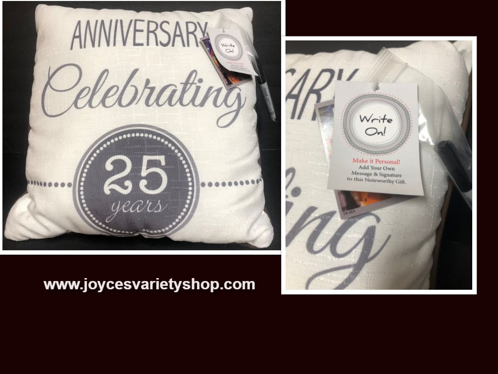 "25TH Anniversary Throw Decor Pillow 18"" x 18"" Personal Write On Made in USA"