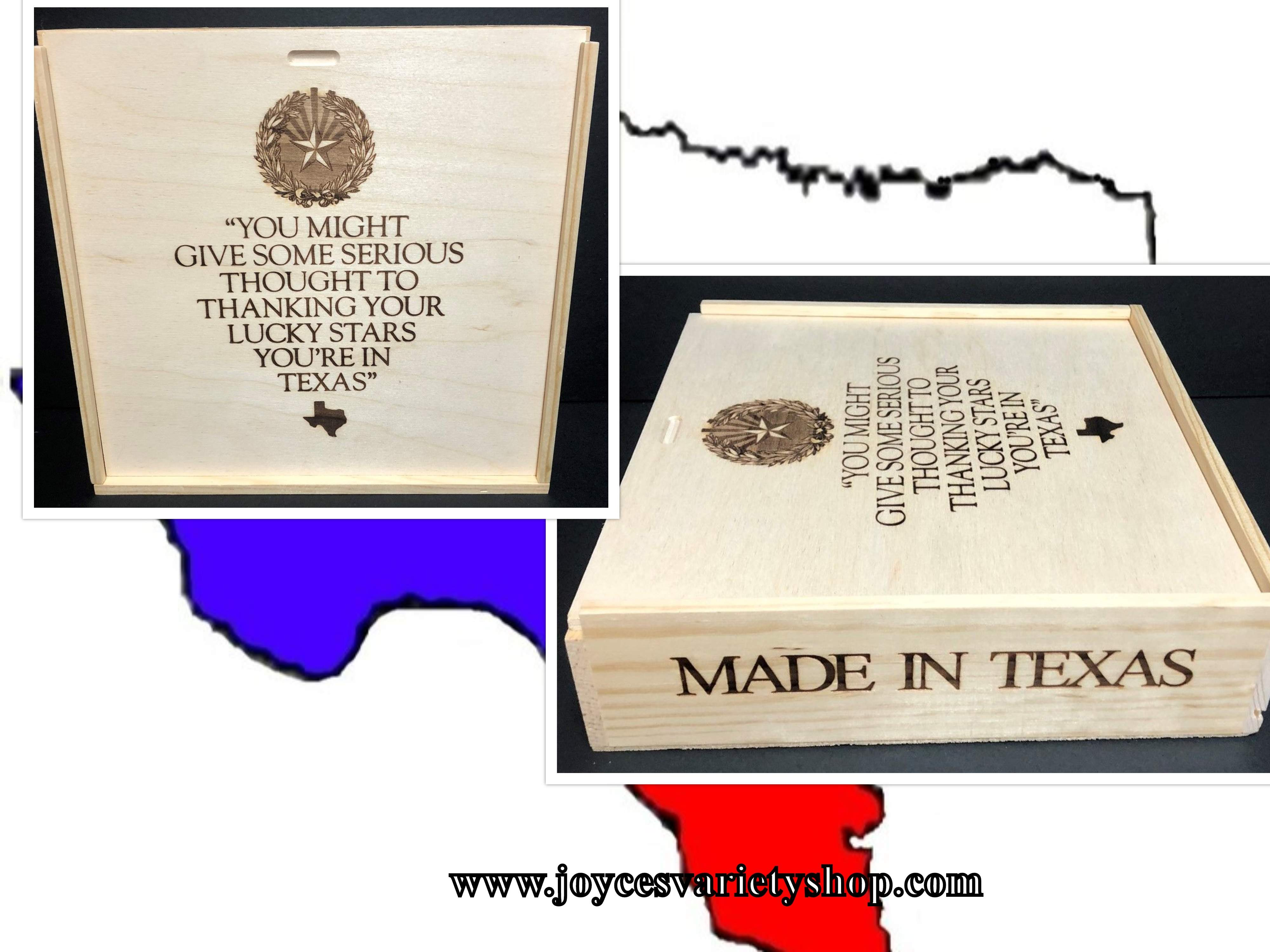 "MADE IN TEXAS Wood Box 11"" x 11"" x 2"" Sliding Top Thank Your LUCKY Stars"