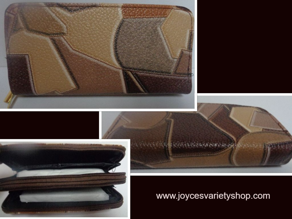 Women's Brown Double Compartment Wallet Geometrical Shapes