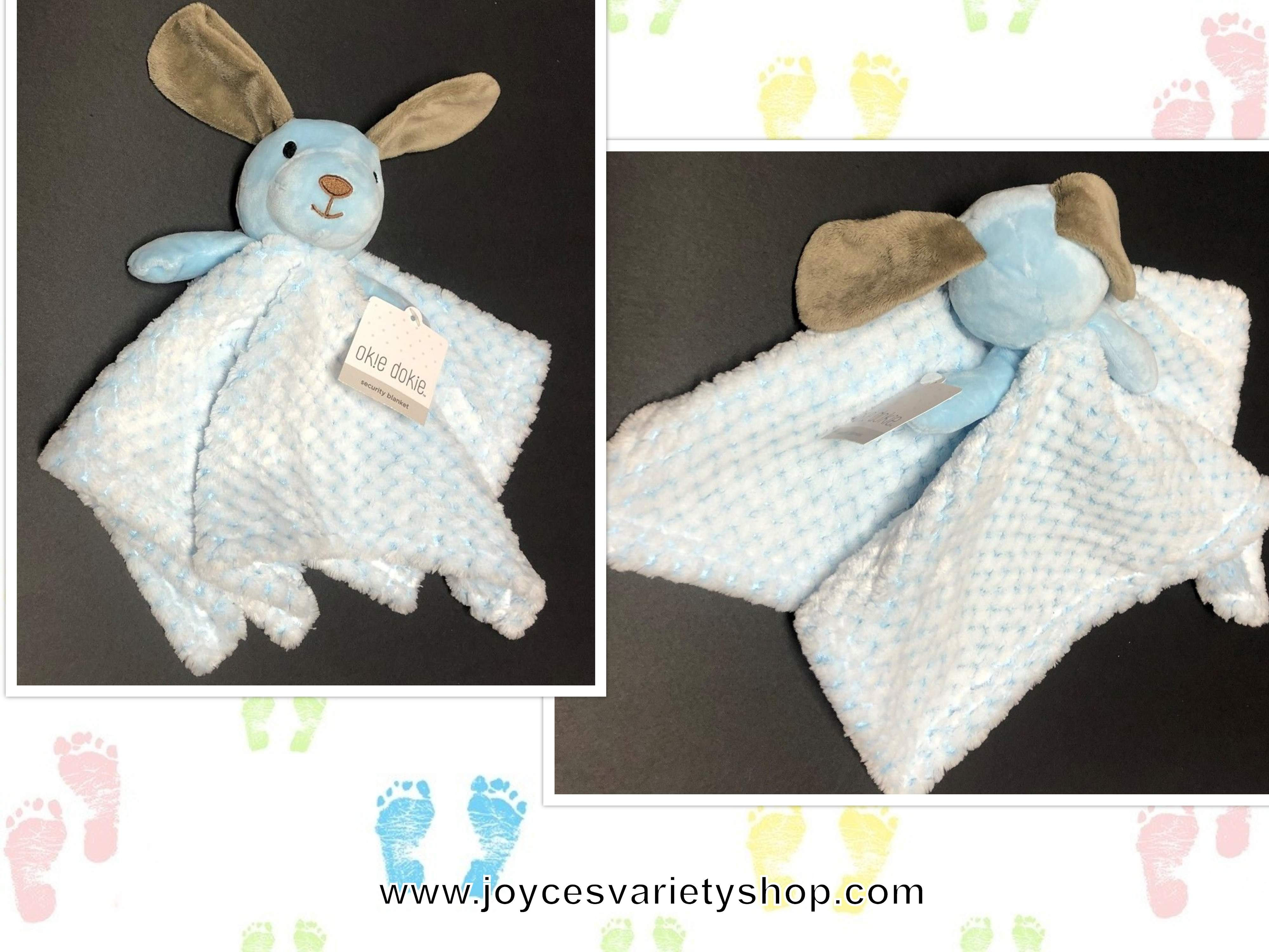 Okie Dokie Baby Security Blanket Blue Soft Puppy 9""