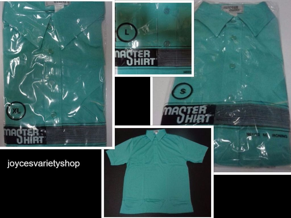 Men's Golf Shirt NWT Aqua Blue Short Sleeve No Iron Master Shirt Sizes XL, L, S