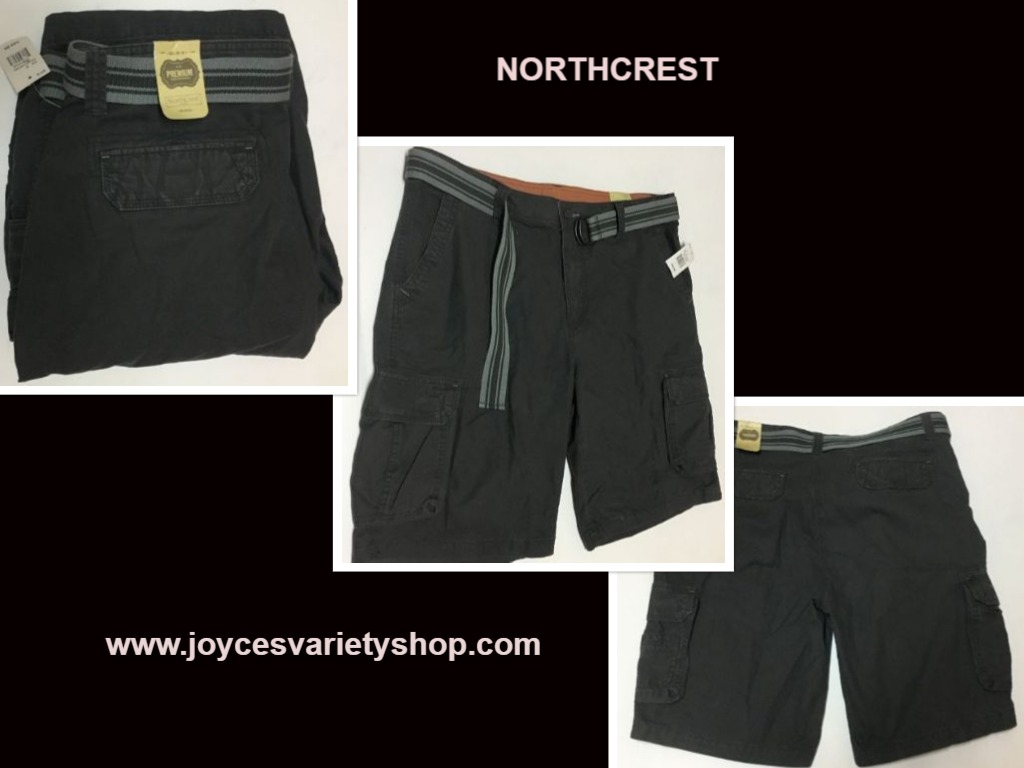 NorthCrest Premium Men's Gray Cargo Shorts W/Belt Sz 38