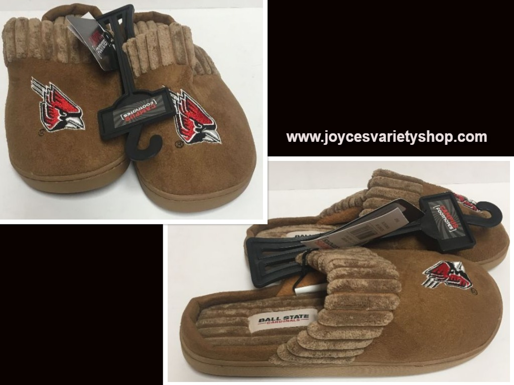 Ball State University Cardinals Cushion Memory Slippers Shoe Women's +Sizes
