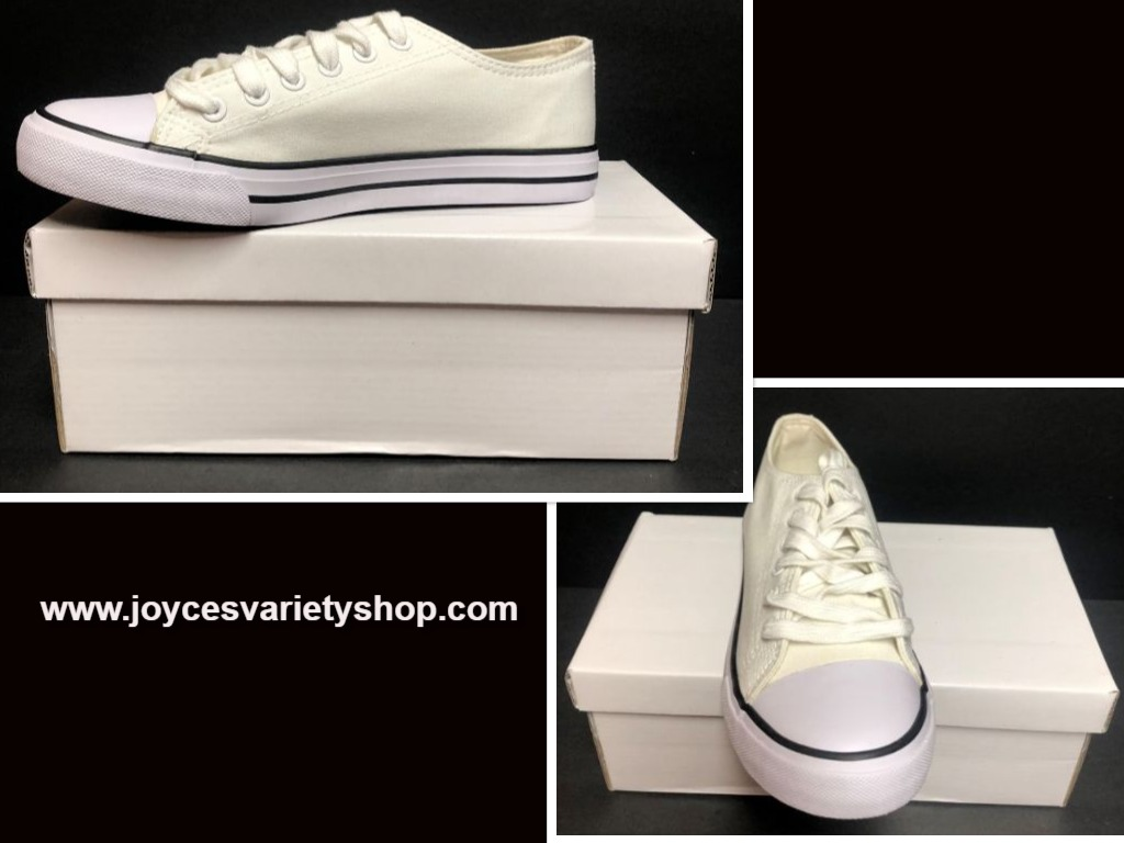 Custom School Kicks Canvas Tennis Shoes Unisex M6/W8 White