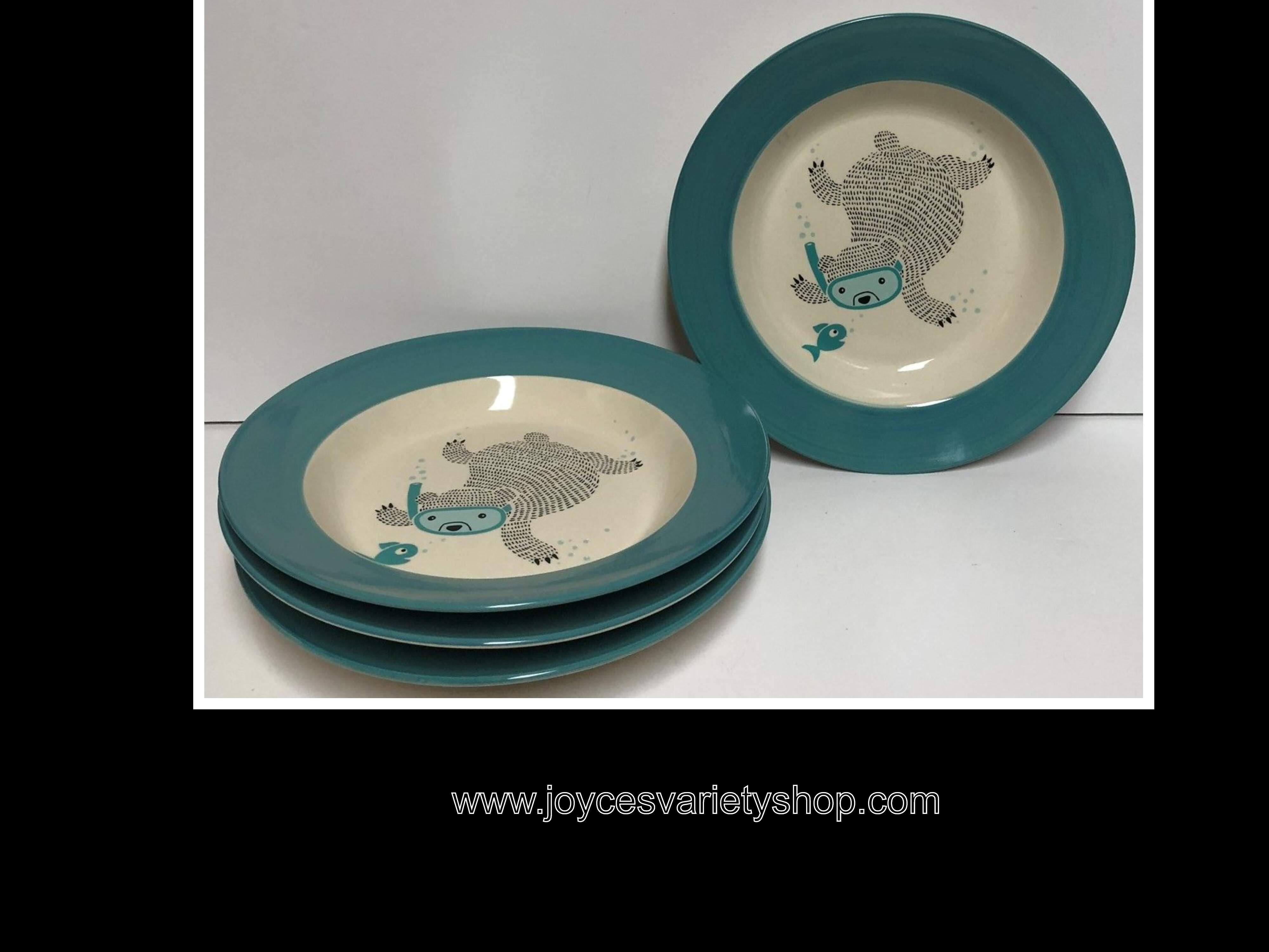Bloomingville Ceramic Benjamin Soup Bowl Bear Fishing Blue Set of 4