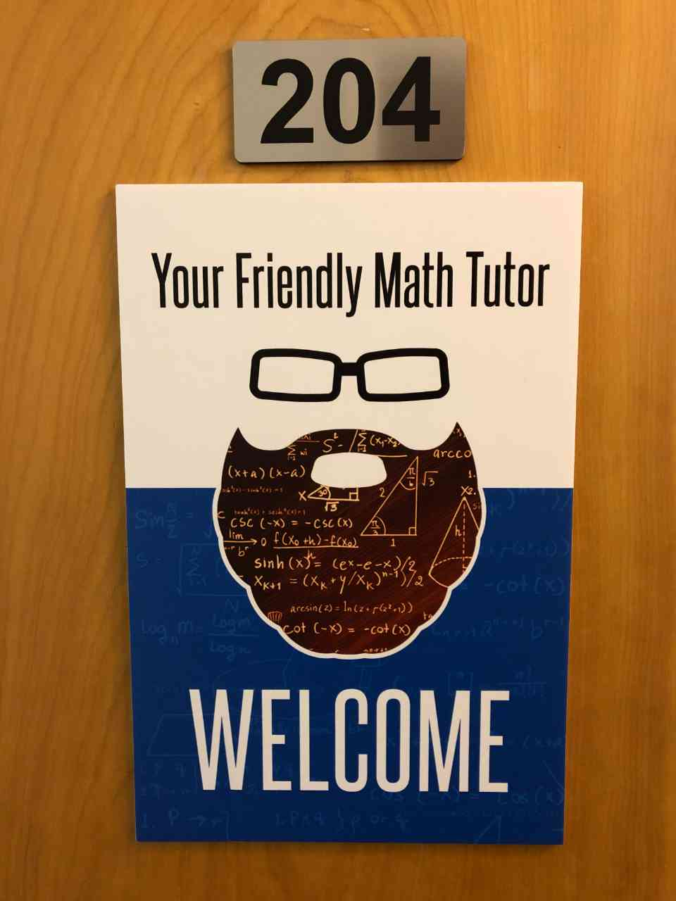 Welcome sign on the Your Friendly Math Tutor Learning Center front door