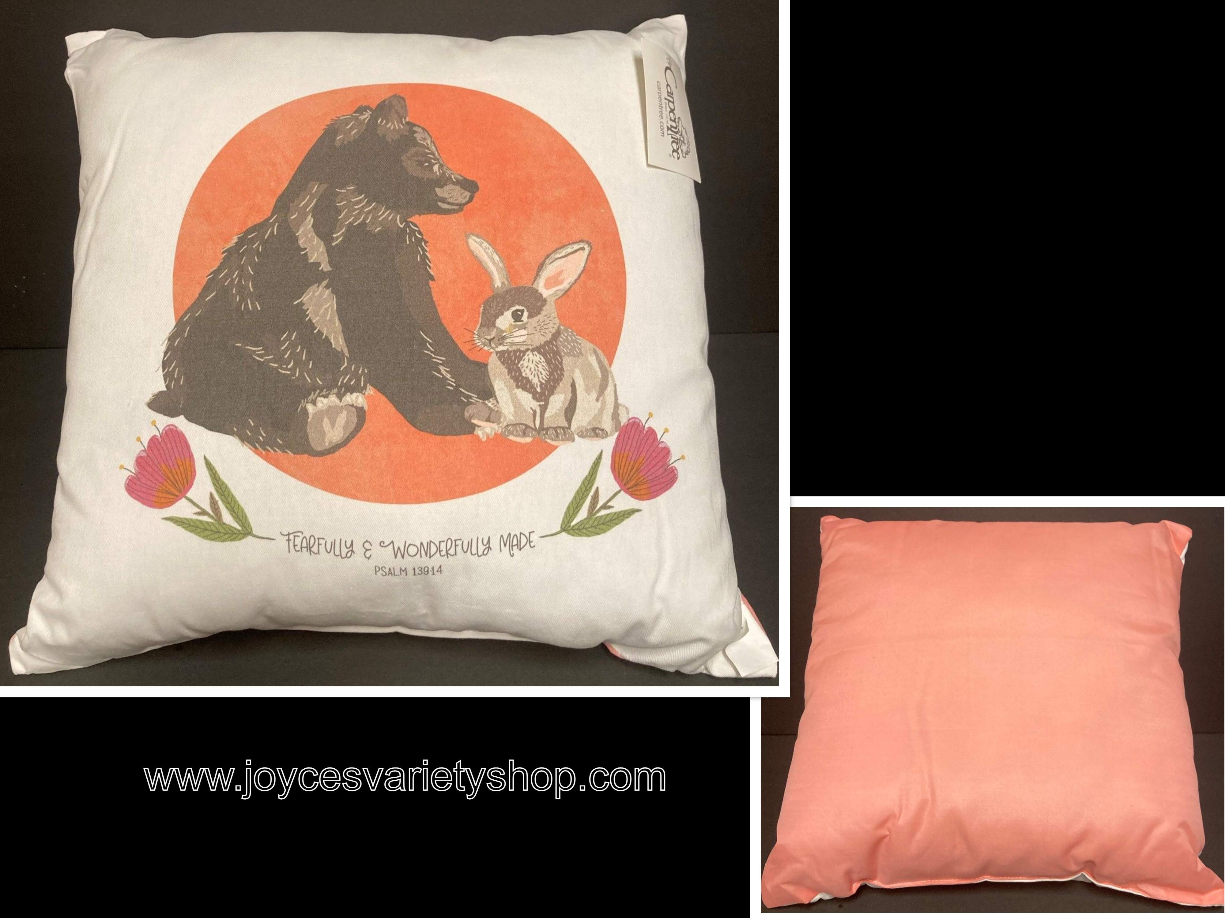 "Fearfully & Wonderfully Made Decor Pillow Bear & Rabbit 14"" x 14"""