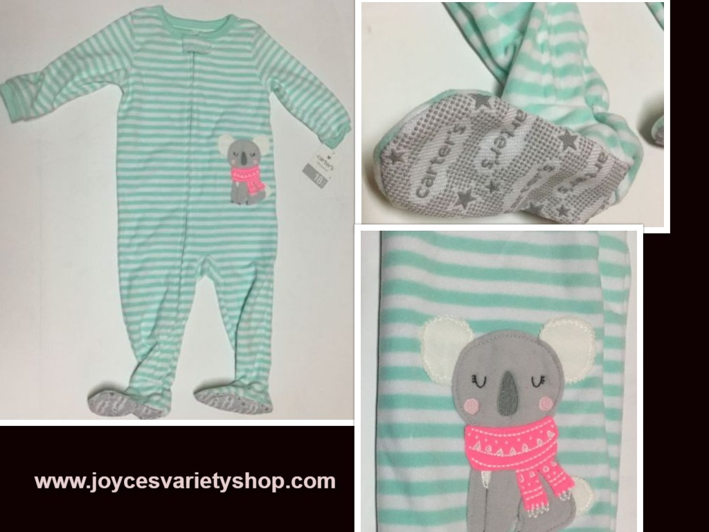 Carters One Piece Sleeper 18 MOS Non Slip Footies Puppy Striped