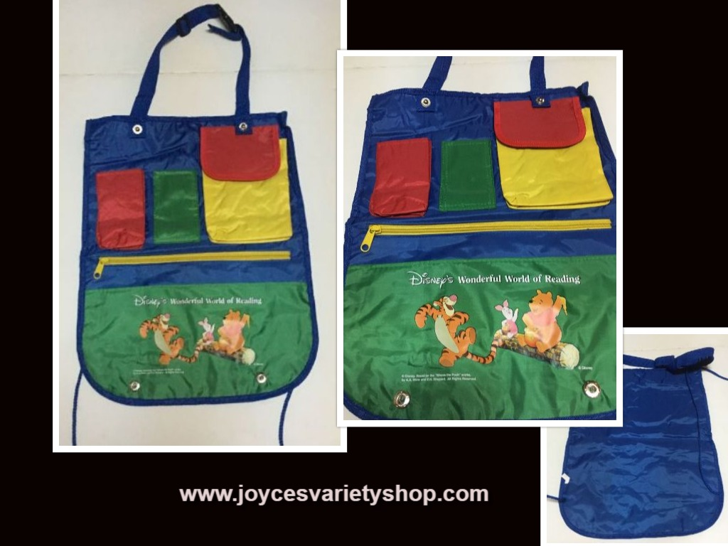 Winnie The Pooh Reading Apron Pockets Carry Bag Multi Color