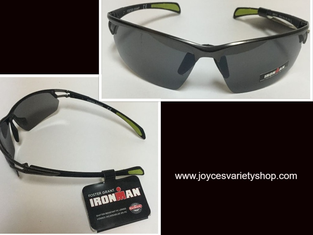Ironman Impact Resistant Sport Sunglasses Black Green Tips