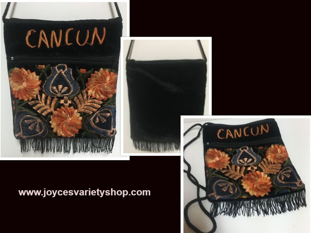 CANCUN Embroidered Velveteen Cross Body Purse Pouch Rope Strap Golds Floral