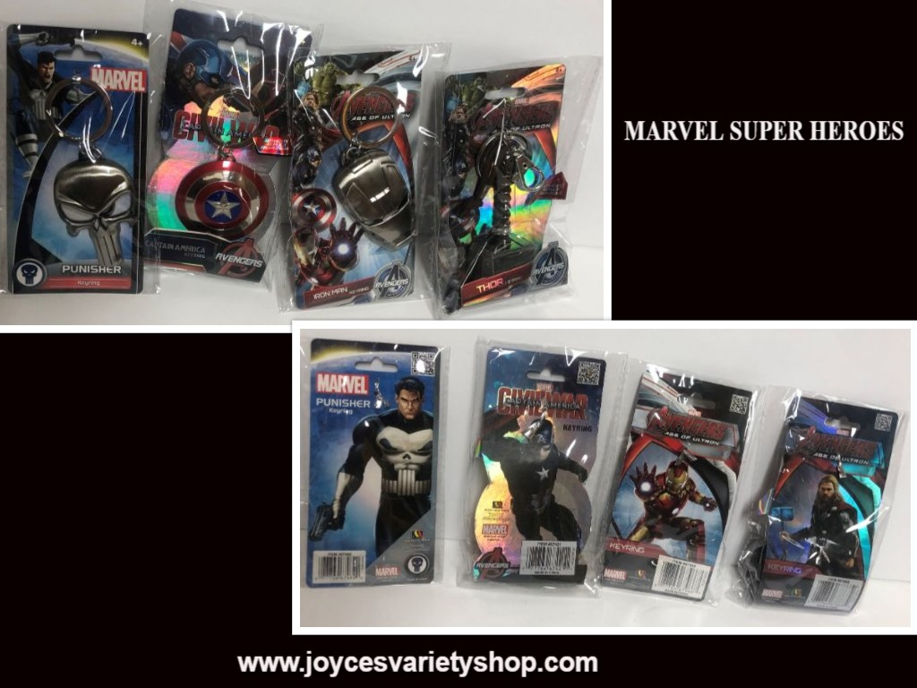 Marvel Superheroes Key Chains Set of 4 Thor Captain America Iron Man Punisher