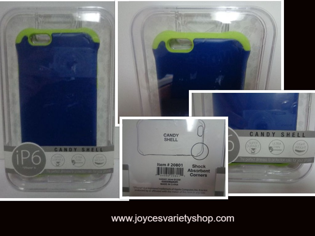 IPhone 6 Cell Phone Case Candy Shell NIB Blue & Lime Green