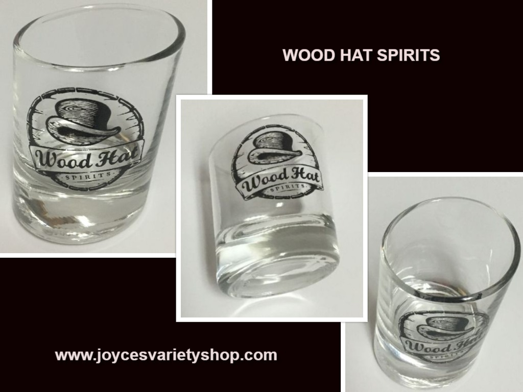 Wood Hat Spirits Whiskey Tilted Shot Glass 1.5 Oz