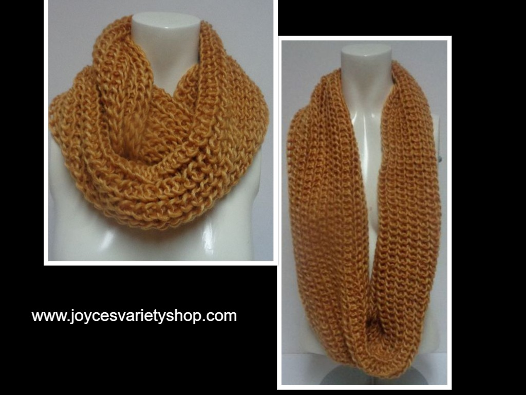 "Winter Scarf Gold NWT Women's Sz Adult 27"" Infinity Style"