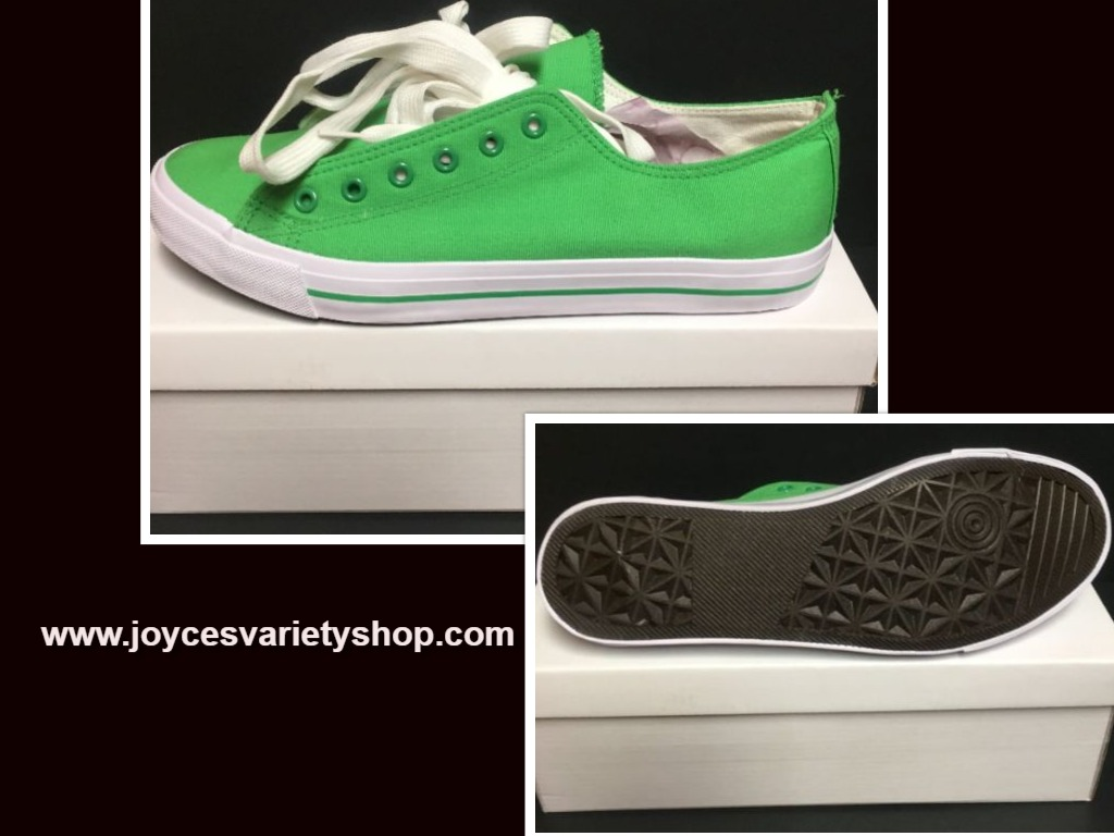 Custom School Kicks Canvas Tennis Shoes Unisex 10/11.5 Lime Green