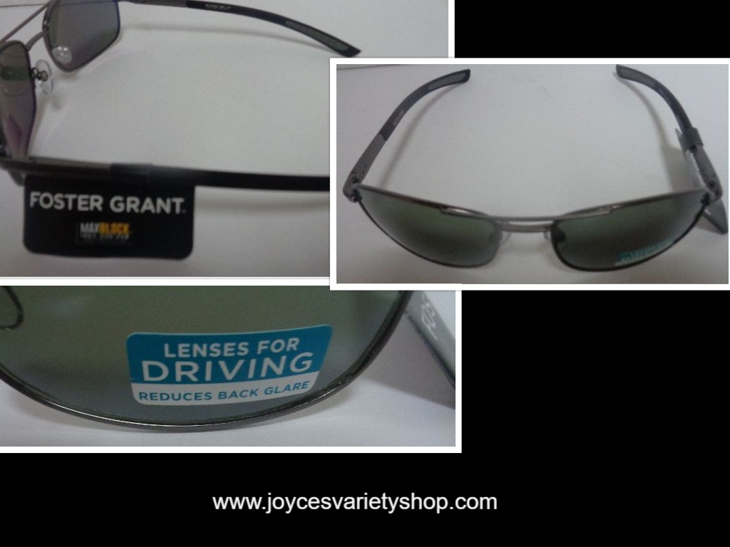 Foster Grant Sunglasses Driving Lenses Reduced Back Glare NWT Metal