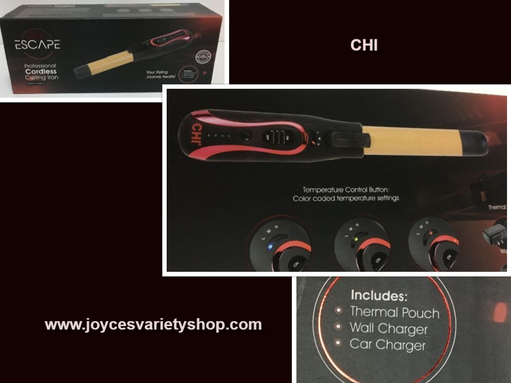 CHI Professional Cordless Curling Iron Pouch Wall & Car Charger 3 Temps