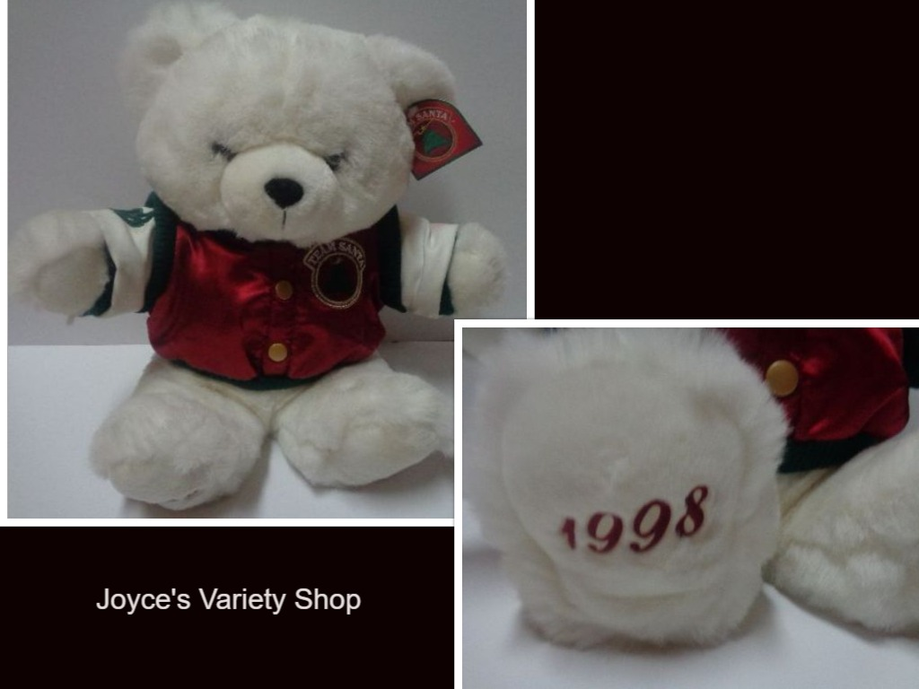 "Christmas Team Santa Teddy Bear 1998 Plush 21"" KMART"