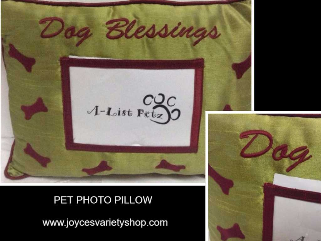 Pet Pillow With Photo Pocket DOG BLESSINGS Green