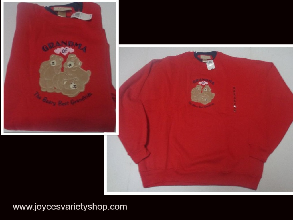 GRANDMA OF THE BEARY BEST GRANDKIDS Sweatshirt NWT SZ XL M&C Sportswear