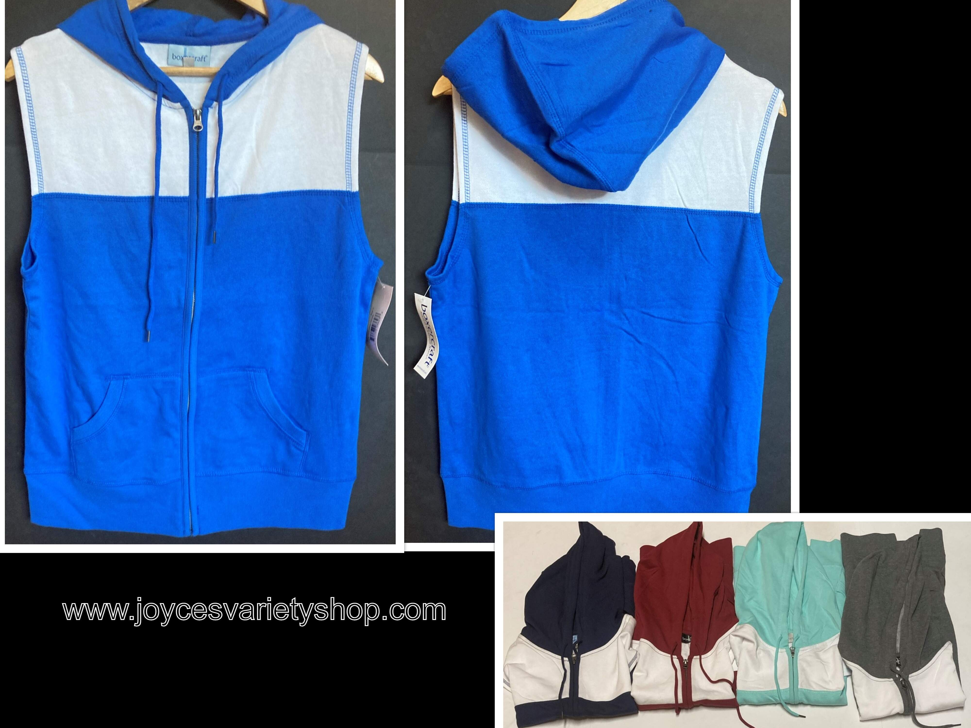 Boxercraft Sleeveless Hoodie Many Size & Colors Kangaroo Front Pockets Front Zip