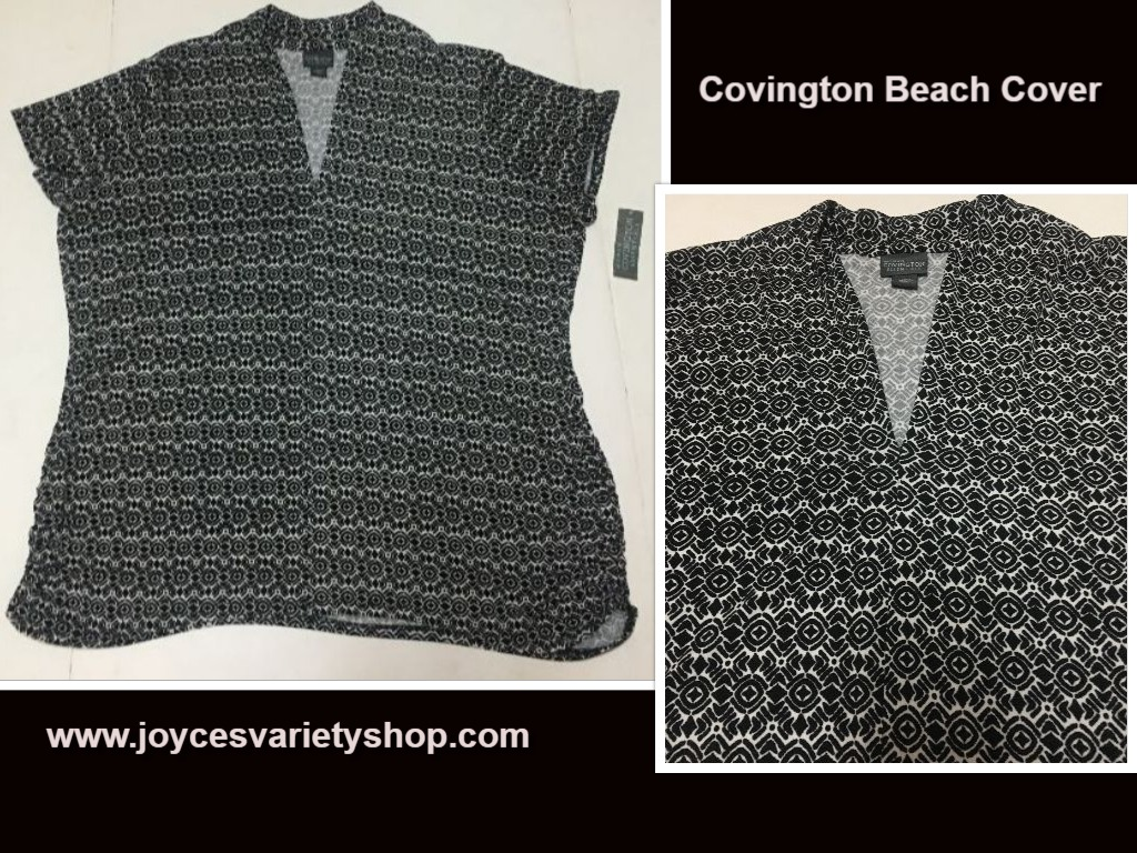 Covington Essentials Blouse Beach Cover SZ 3XL Black & White Geometric