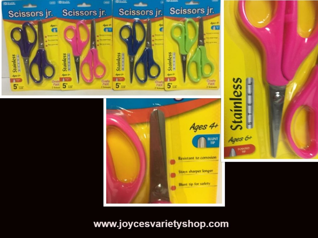 Bazic Scissors Jr. Various Colors 2 in Pack 6+ Yrs Pointed Tip 4+ Yrs Blunt Tip