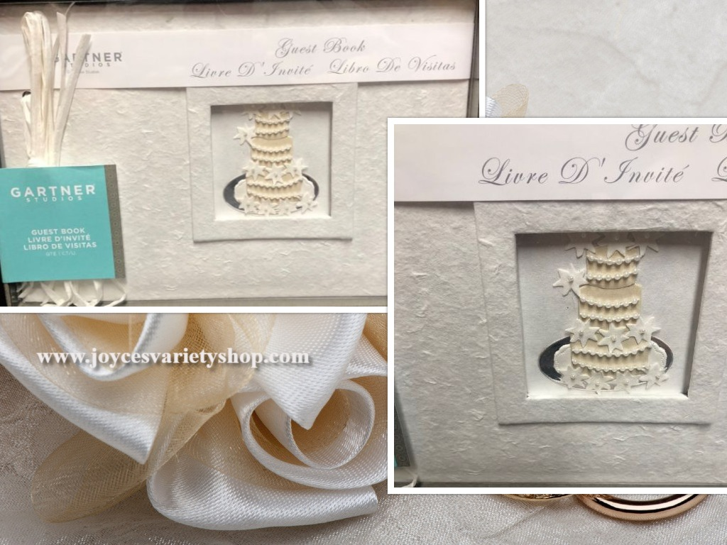 Wedding Guest Book Gartner Studios Ivory White Textured Cake